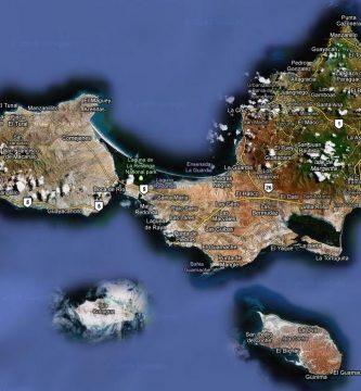 Mapa satelital de Isla Margarita