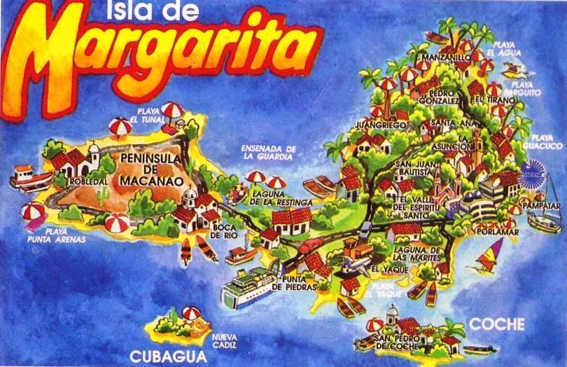 Mapa turístico Isla Margarita Venezuela: sitios turísticos