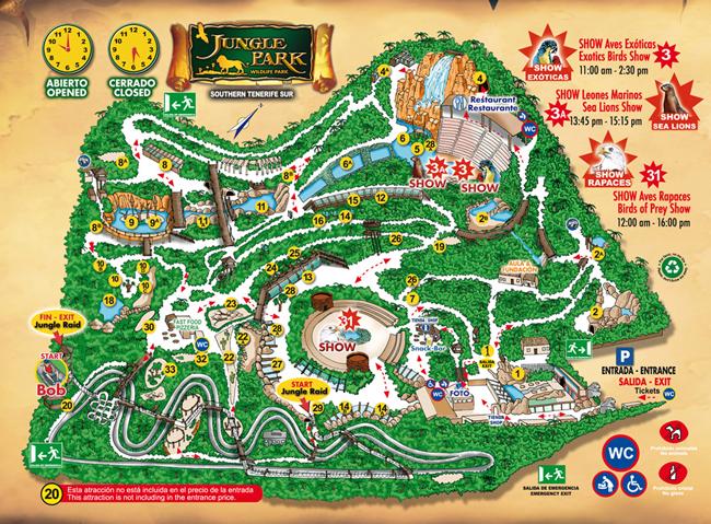 Tenerife con niños: mapa de Jungle Park Tenerife