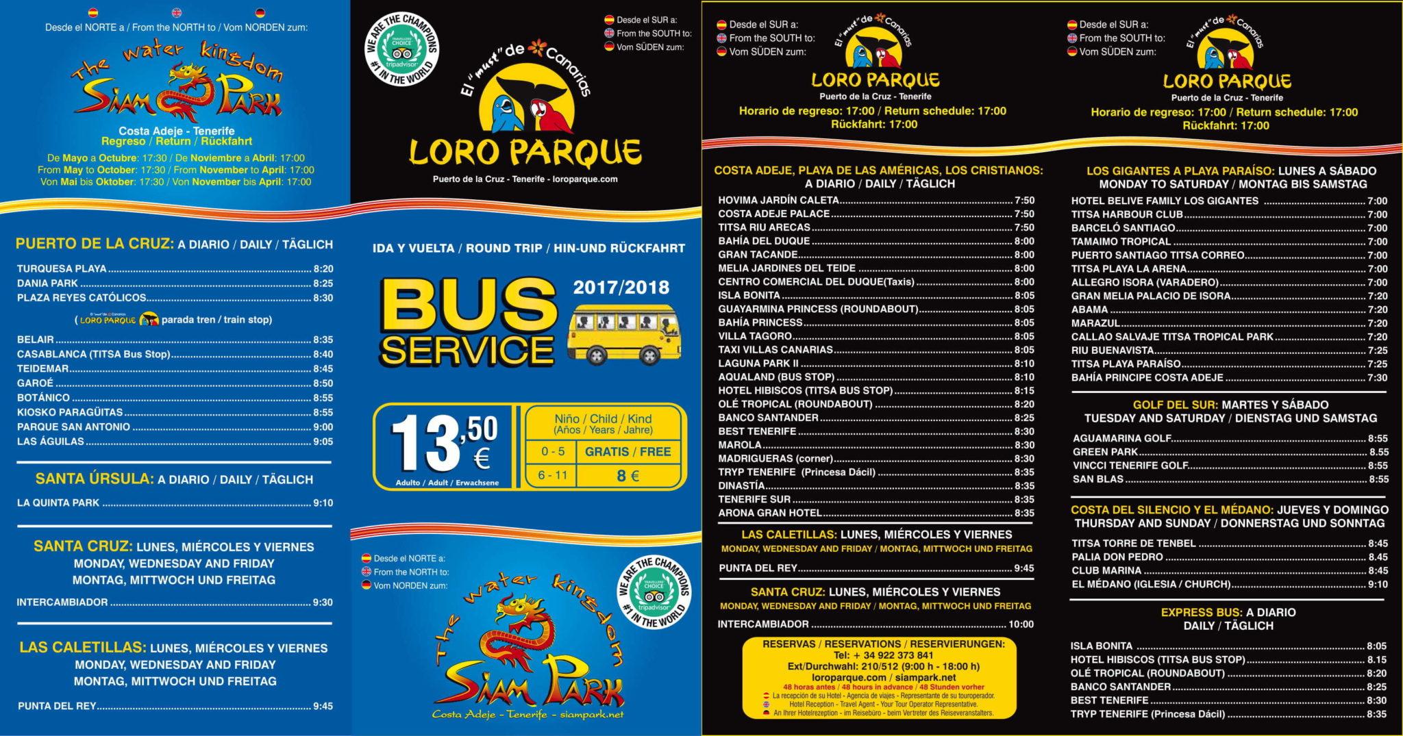 Tenerife con niños: servicio de autobús de Siam Park